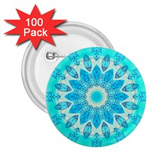Blue Ice Goddess, Abstract Crystals Of Love 2.25  Button (100 pack)