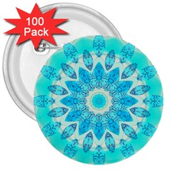 Blue Ice Goddess, Abstract Crystals Of Love 3  Button (100 Pack)