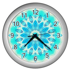 Blue Ice Goddess, Abstract Crystals Of Love Wall Clock (silver)