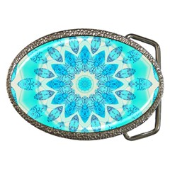 Blue Ice Goddess, Abstract Crystals Of Love Belt Buckle (Oval)