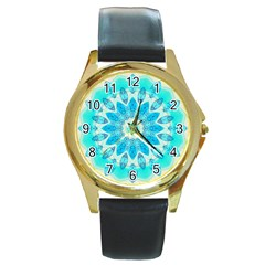 Blue Ice Goddess, Abstract Crystals Of Love Round Leather Watch (Gold Rim)