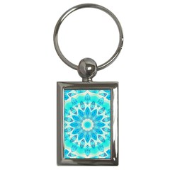Blue Ice Goddess, Abstract Crystals Of Love Key Chain (Rectangle)