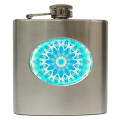 Blue Ice Goddess, Abstract Crystals Of Love Hip Flask