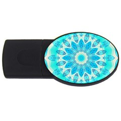 Blue Ice Goddess, Abstract Crystals Of Love 2GB USB Flash Drive (Oval)