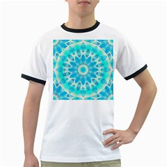 Blue Ice Goddess, Abstract Crystals Of Love Men s Ringer T Shirt
