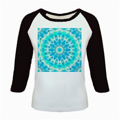 Blue Ice Goddess, Abstract Crystals Of Love Kids Long Cap Sleeve T-Shirt