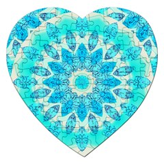 Blue Ice Goddess, Abstract Crystals Of Love Jigsaw Puzzle (Heart)