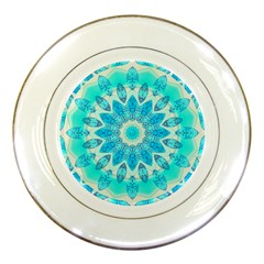 Blue Ice Goddess, Abstract Crystals Of Love Porcelain Display Plate