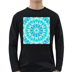 Blue Ice Goddess, Abstract Crystals Of Love Men s Long Sleeve T-shirt (Dark Colored)