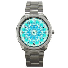 Blue Ice Goddess, Abstract Crystals Of Love Sport Metal Watch