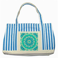 Blue Ice Goddess, Abstract Crystals Of Love Blue Striped Tote Bag
