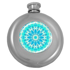 Blue Ice Goddess, Abstract Crystals Of Love Hip Flask (round)