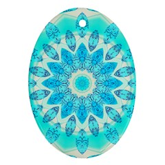 Blue Ice Goddess, Abstract Crystals Of Love Oval Ornament (Two Sides)