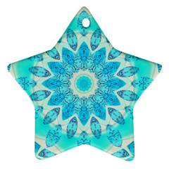 Blue Ice Goddess, Abstract Crystals Of Love Star Ornament (Two Sides)