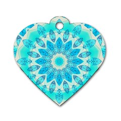 Blue Ice Goddess, Abstract Crystals Of Love Dog Tag Heart (Two Sided)