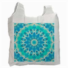 Blue Ice Goddess, Abstract Crystals Of Love White Reusable Bag (one Side)