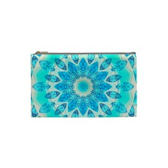 Blue Ice Goddess, Abstract Crystals Of Love Cosmetic Bag (Small)
