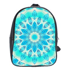 Blue Ice Goddess, Abstract Crystals Of Love School Bag (large)