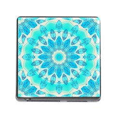 Blue Ice Goddess, Abstract Crystals Of Love Memory Card Reader With Storage (square)