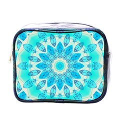 Blue Ice Goddess, Abstract Crystals Of Love Mini Travel Toiletry Bag (One Side)