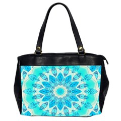 Blue Ice Goddess, Abstract Crystals Of Love Oversize Office Handbag (two Sides)