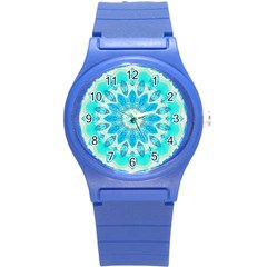 Blue Ice Goddess, Abstract Crystals Of Love Plastic Sport Watch (small)