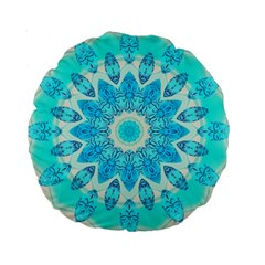 Blue Ice Goddess, Abstract Crystals Of Love 15  Premium Round Cushion