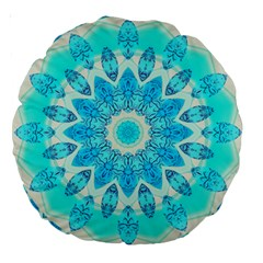 Blue Ice Goddess, Abstract Crystals Of Love 18  Premium Round Cushion