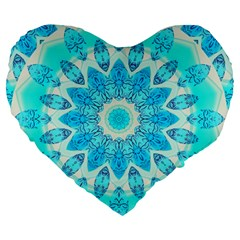 Blue Ice Goddess, Abstract Crystals Of Love 19  Premium Heart Shape Cushion