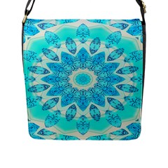 Blue Ice Goddess, Abstract Crystals Of Love Flap Closure Messenger Bag (large)