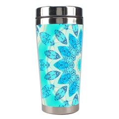 Blue Ice Goddess, Abstract Crystals Of Love Stainless Steel Travel Tumbler