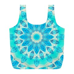 Blue Ice Goddess, Abstract Crystals Of Love Reusable Bag (l)