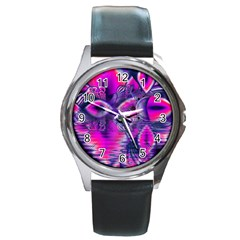 Rose Crystal Palace, Abstract Love Dream  Round Leather Watch (silver Rim)
