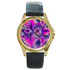 Rose Crystal Palace, Abstract Love Dream  Round Leather Watch (Gold Rim)