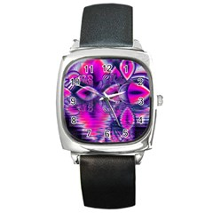 Rose Crystal Palace, Abstract Love Dream  Square Leather Watch