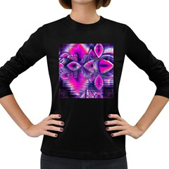 Rose Crystal Palace, Abstract Love Dream  Women s Long Sleeve T-shirt (Dark Colored)