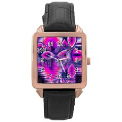 Rose Crystal Palace, Abstract Love Dream  Rose Gold Leather Watch