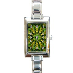 Woven Jungle Leaves Mandala Rectangular Italian Charm Watch