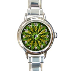 Woven Jungle Leaves Mandala Round Italian Charm Watch