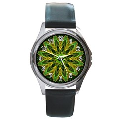 Woven Jungle Leaves Mandala Round Leather Watch (Silver Rim)