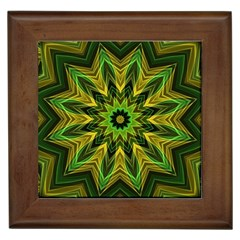 Woven Jungle Leaves Mandala Framed Ceramic Tile