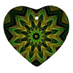 Woven Jungle Leaves Mandala Heart Ornament