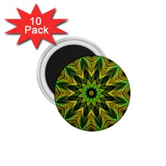 Woven Jungle Leaves Mandala 1.75  Button Magnet (10 pack)