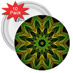Woven Jungle Leaves Mandala 3  Button (10 pack)