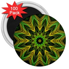 Woven Jungle Leaves Mandala 3  Button Magnet (100 pack)