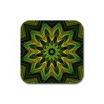 Woven Jungle Leaves Mandala Drink Coaster (Square) Front