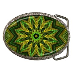 Woven Jungle Leaves Mandala Belt Buckle (oval)