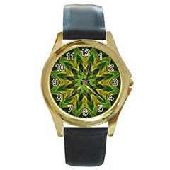 Woven Jungle Leaves Mandala Round Leather Watch (Gold Rim)