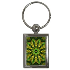 Woven Jungle Leaves Mandala Key Chain (rectangle)