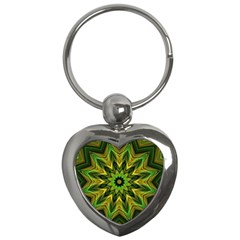 Woven Jungle Leaves Mandala Key Chain (heart)